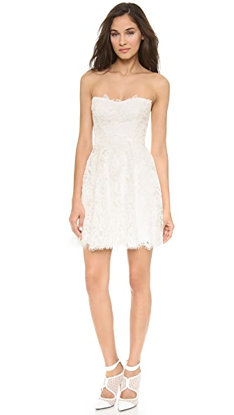 Monique Lhuillier Flirt Lace Mini Dress In Silk White