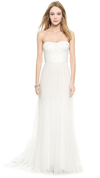 Monique Lhuillier Emanuela Sweetheart Gown In Silk White