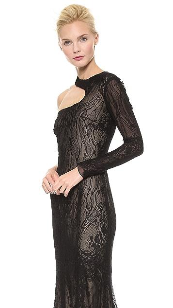 Monique Lhuillier Cutout One Shoulder Gown