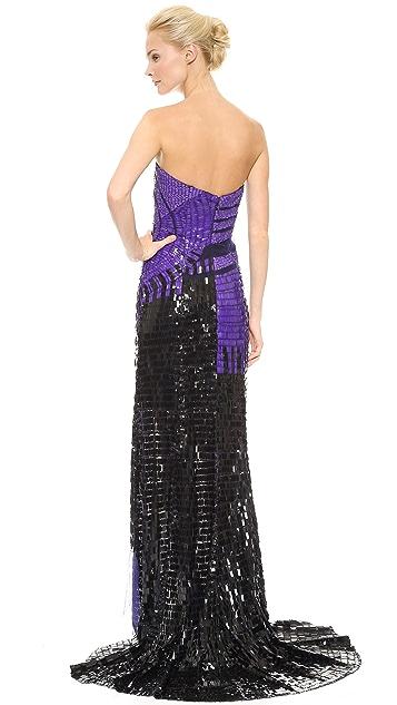 Monique Lhuillier Strapless Illusion Gown