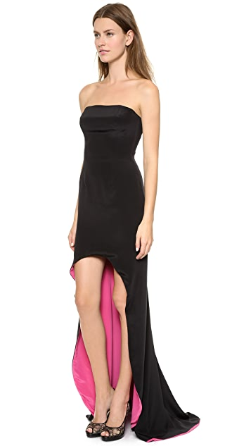 Monique Lhuillier Strapless Gown with Contrast Lining