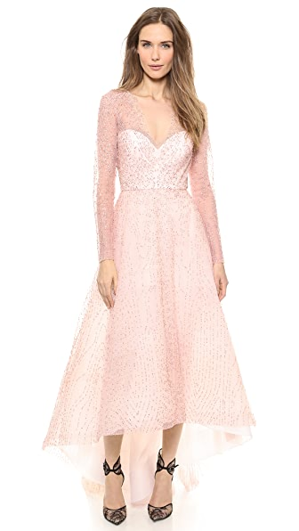 Monique Lhuillier Embroidered Crystal Gown