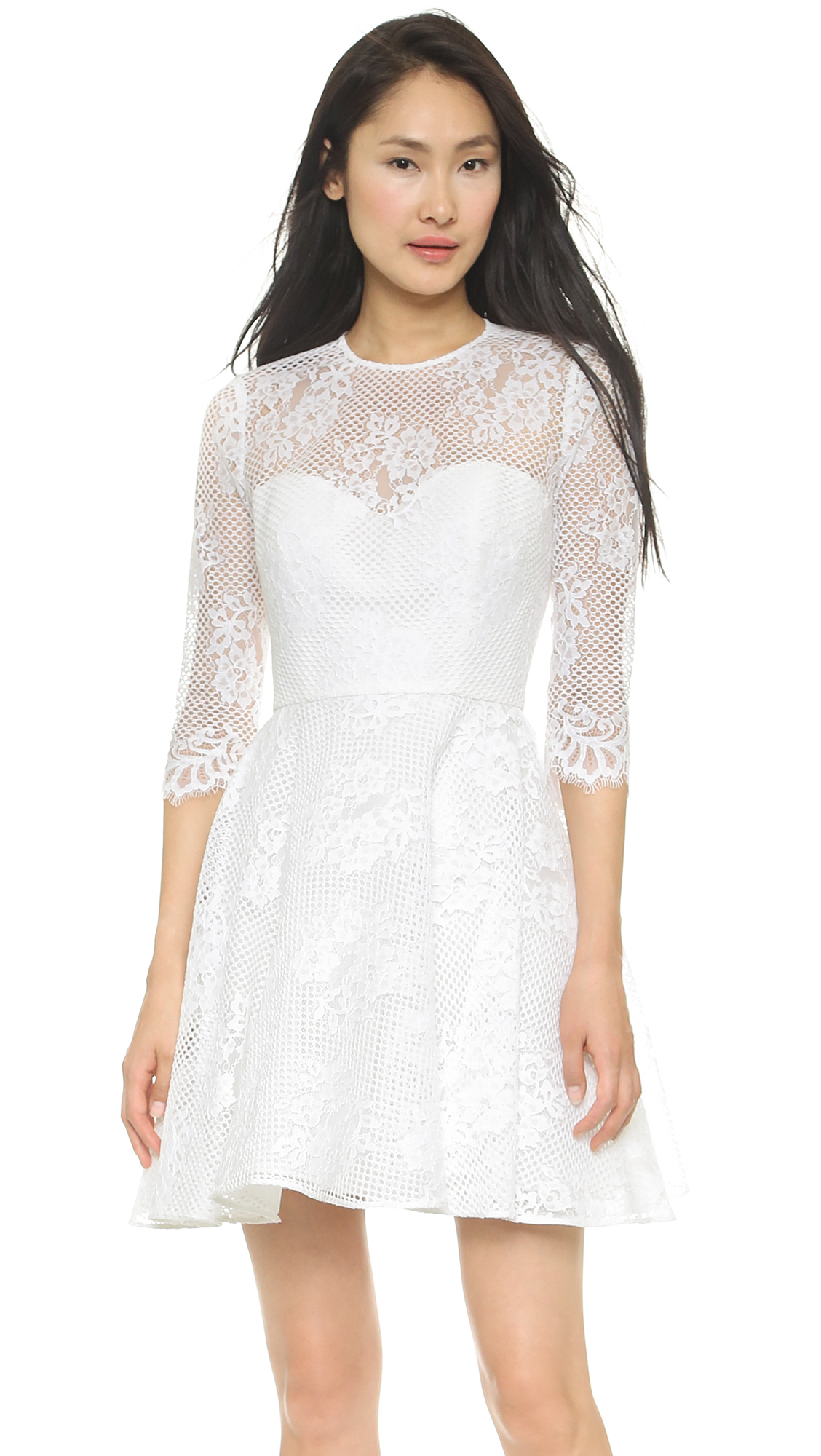 Monique Lhuillier Mignon A Line Dress In White/White