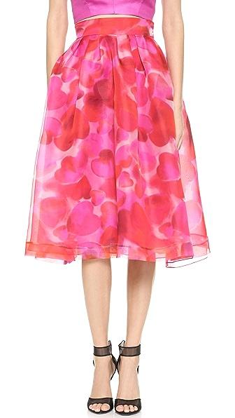 Monique Lhuillier Широкая юбка с принтом в виде сердечек