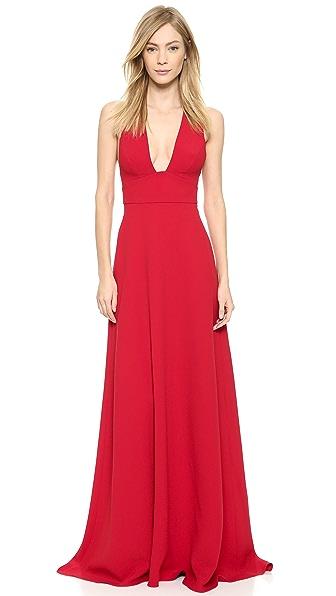 Monique Lhuillier Plunge Gown with Crisscross Back
