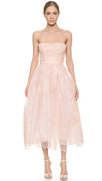 Monique Lhuillier Iridescent Lace Strapless Dress