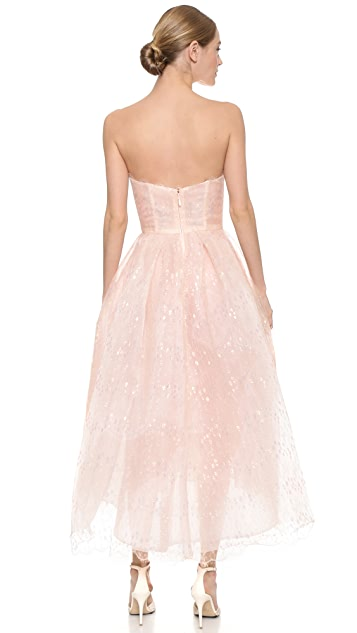 Monique Lhuillier Iridescent Lace Strapless Dress