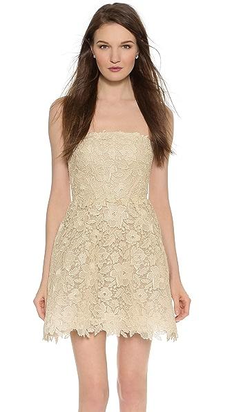 Monique Lhuillier Bellini Strapless Mini Dress - Antique Gold