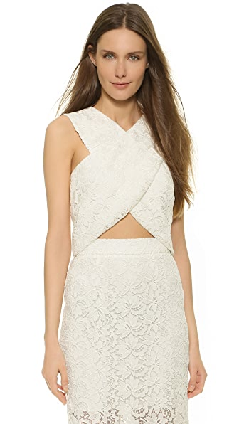 Monique Lhuillier Billie Crisscross Crop Top - Silk White