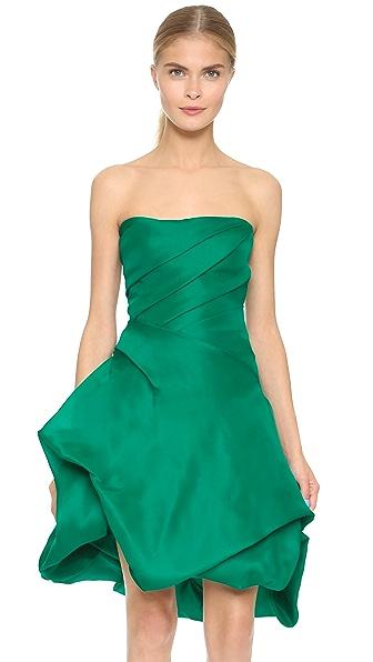 Monique Lhuillier Strapless Dress with Bubble Hem