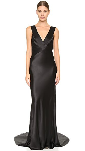 Monique Lhuillier Sleeveless V Neck Gown