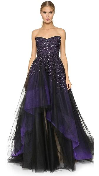 Monique Lhuillier Strapless Ball Gown