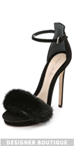 Marlowe Fur Sandals                Monique Lhuillier