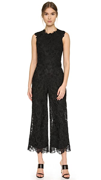 Monique Lhuillier Lace Split Back Jumpsuit