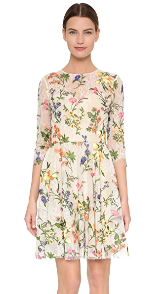 Monique Lhuillier Embroidered Lace Dress