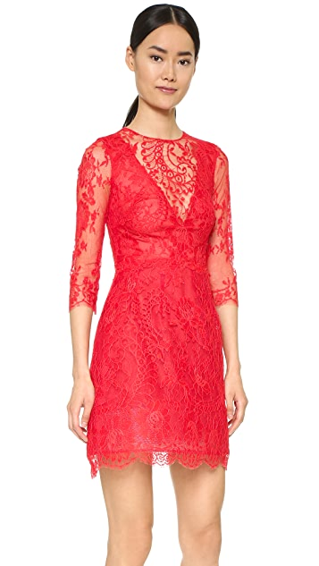 Monique Lhuillier Illusion Lace Dress with Full Skirt