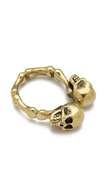 Monserat De Lucca Two Skulls Ring
