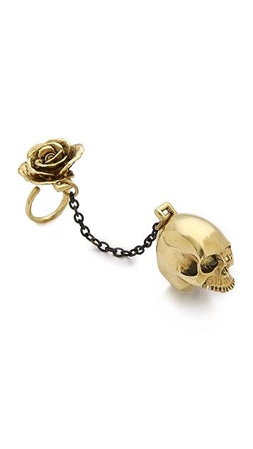 Monserat De Lucca Skull & Rose 2 Finger Ring