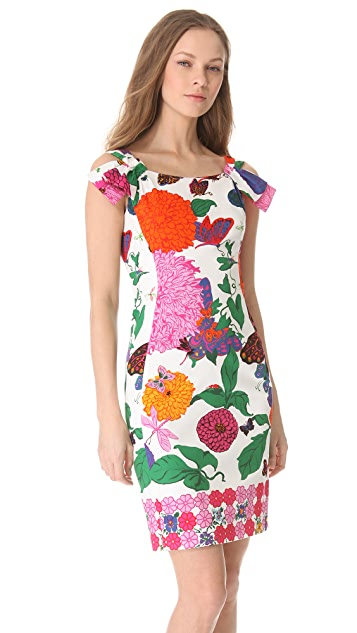 Moschino Floral Sheath Dress with Bow Straps