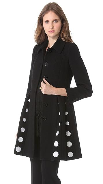 Moschino Pleated Polka Dot Coat