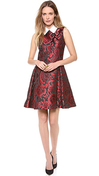 Moschino Sleeveless Rose Brocade Dress