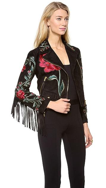 Moschino Suede Rose Fringe Jacket