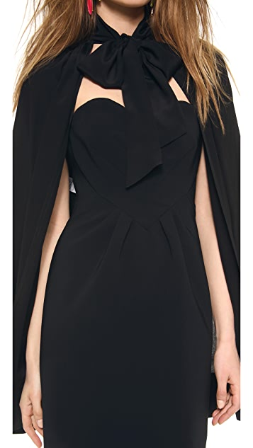 Moschino Heart Dress with Tie Neck Cape