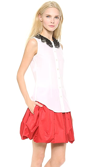 Moschino Lace & Imitation Pearl Collar Blouse