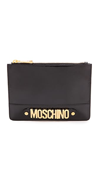 Moschino Patent Leather Zip Clutch
