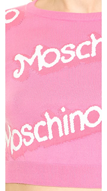 Moschino Long Sleeve Knit Cropped Sweater