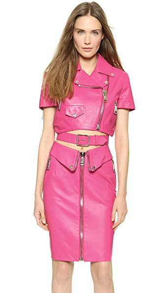 Moschino Cropped Leather Jacket