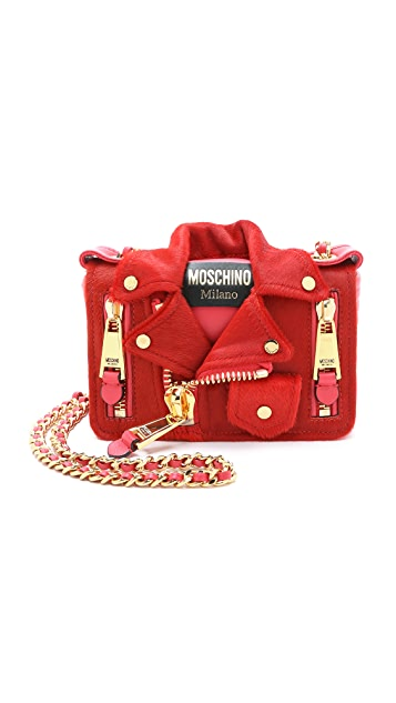 Moschino Haircalf Motorcycle Bag