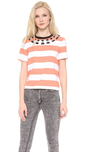 Mother of Pearl Boxy Embellished Tee