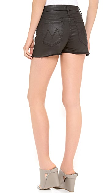 MOTHER High Waist Faux Leather Shorts