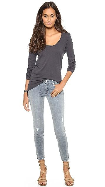 MOTHER The Vamp Skinny Ankle Slit Jeans