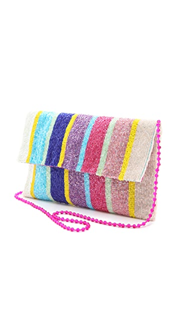 MOYNA Vertical Stripes Fold Over Clutch