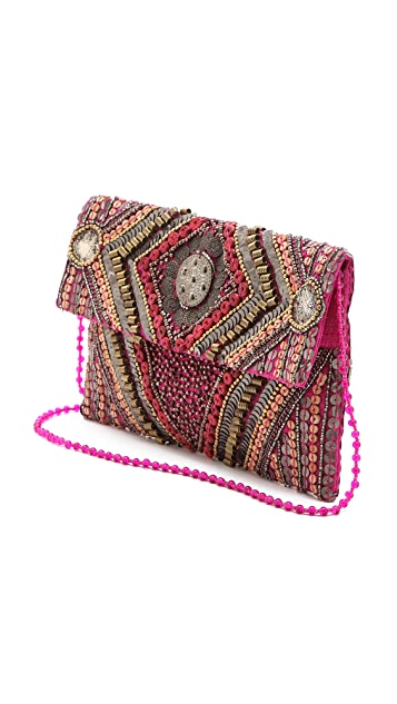 MOYNA Beaded Flap Clutch