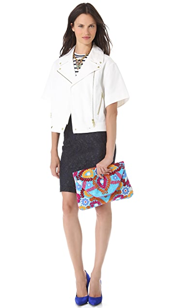MOYNA Large Flower Embroidered Clutch
