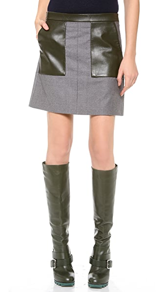 M.PATMOS Leather Trimmed Miniskirt