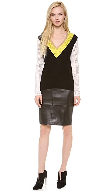 M.PATMOS Seamed Leather Skirt
