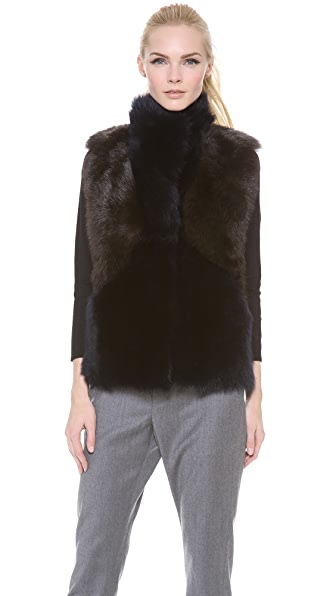 M.PATMOS Leather and Shearling Vest