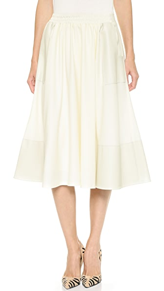 M.PATMOS Leather Trim Editor Skirt