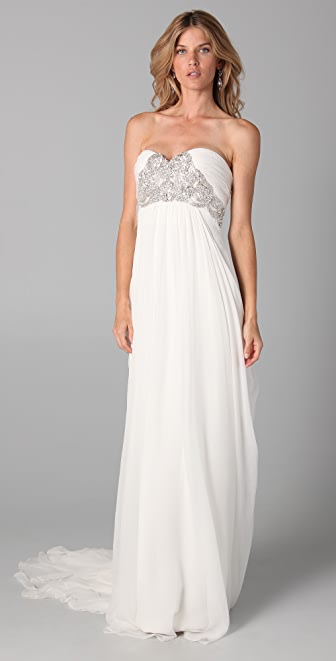 Marchesa Silk Crepe Gown with Embroidered Bodice