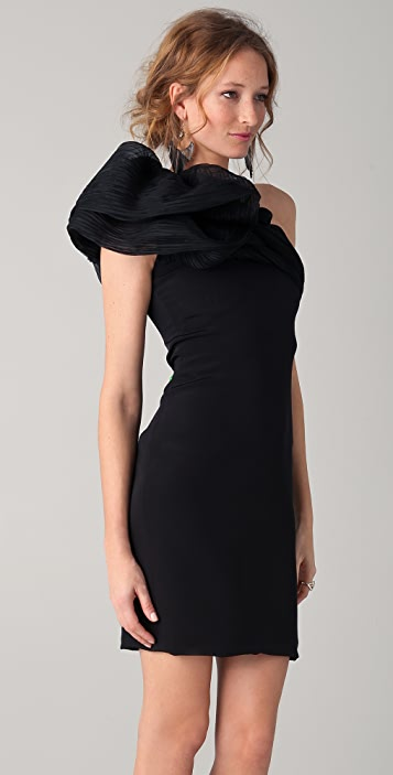 Marchesa One Shoulder Dress with Pleated Ruffle