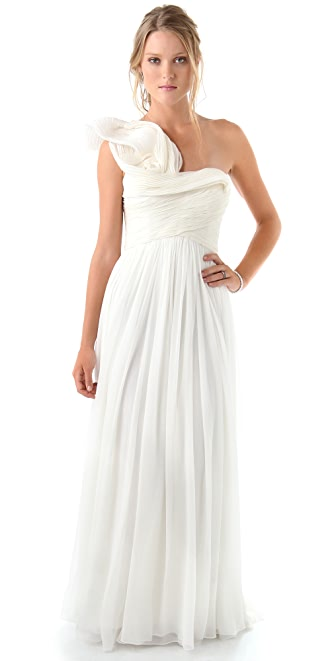 Marchesa One Shoulder Gown with Pleated Bodice