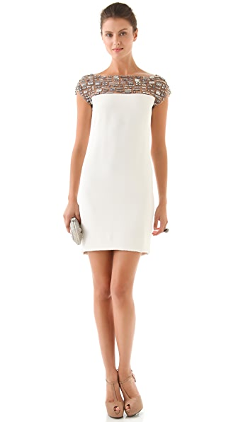 Marchesa Silk Crepe Dress with Beaded Neckline