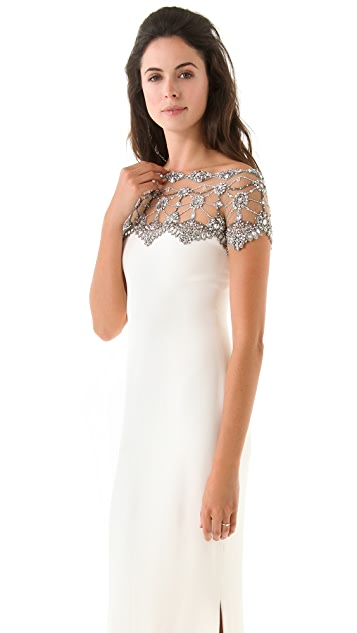 Marchesa Embroidered Bejeweled Gown