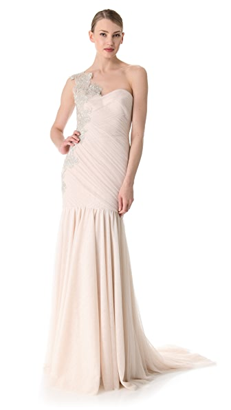 Marchesa One Shoulder Column Gown