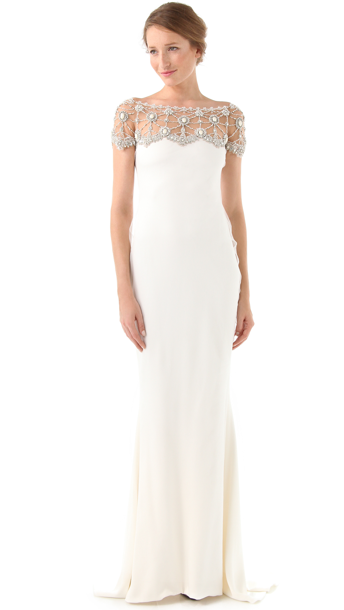 Marchesa Silk Column Gown with Tulle Overlay | SHOPBOP