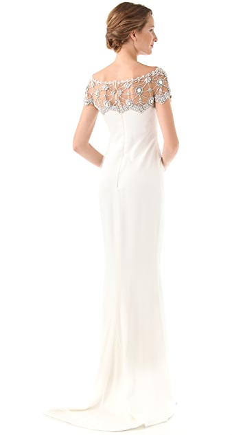 Marchesa Silk Column Gown with Tulle Overlay